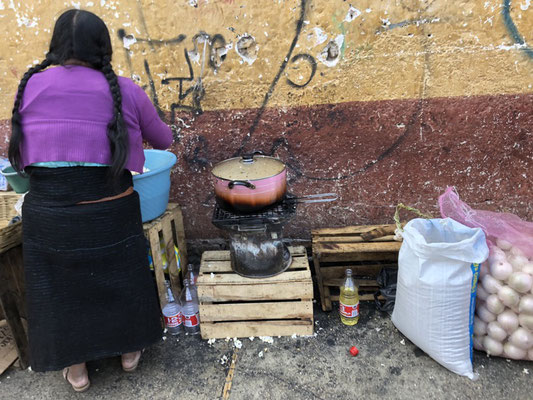 Food cooked on the streets of San Cristobal