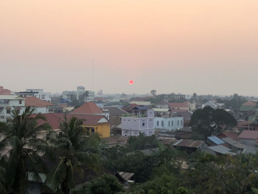 Sun at sunset is red in Siam Reap, Cambodia