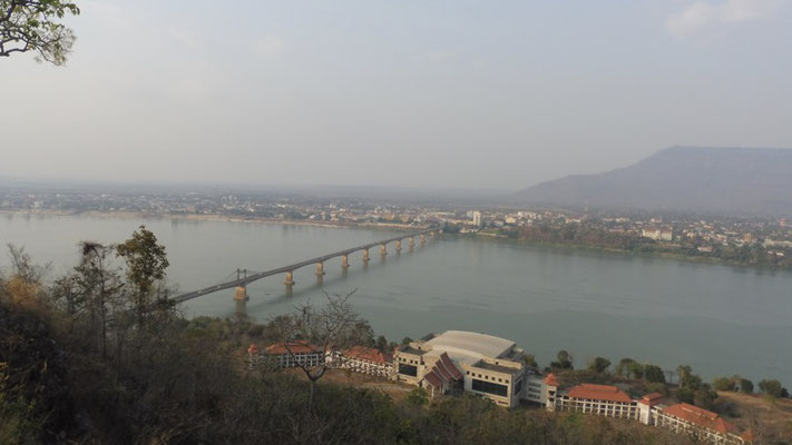 View onto Pakse and the bridge over the Mekong