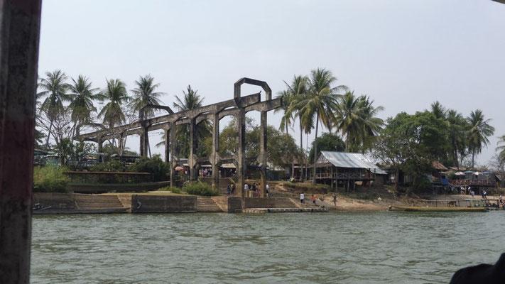 Not finished bridge in Don Det, Laos