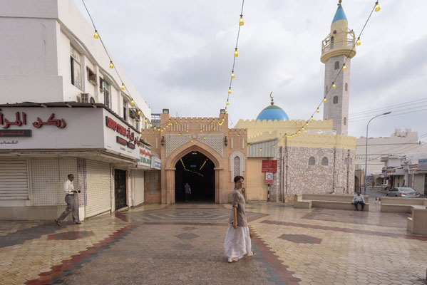 Irene going towards the old souk in Muscat, Oman