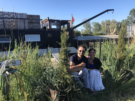 Jason and Irene in front of Calypso, his rented houseboat in Aigues-Mortes, Provence (South of France)