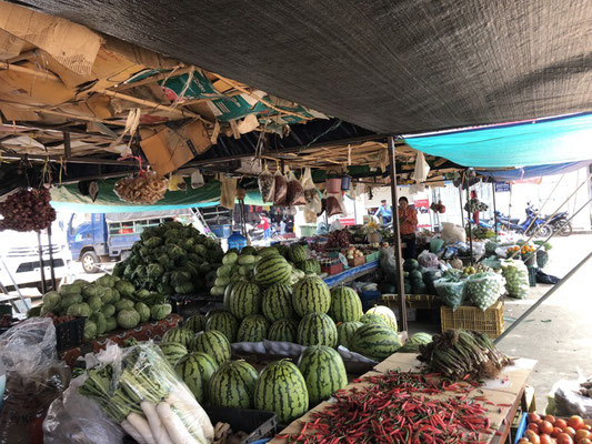 Some fruit & vegetable market on the mainland in Laos