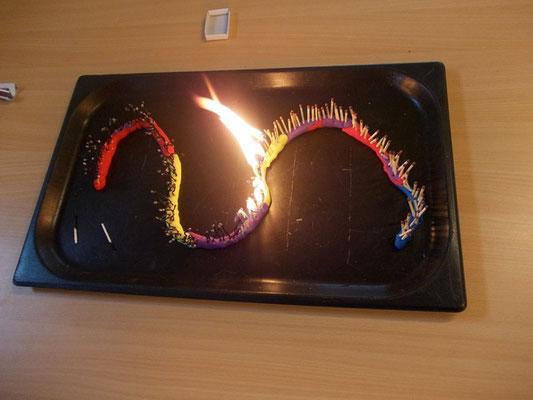 Kettenreaktion: Von einem Streichholz brennt die ganze Schlange