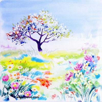 Jardin de paradis IV - aquarelle marouflée sur châssis toilé - 50cmx50cm - collection particulière