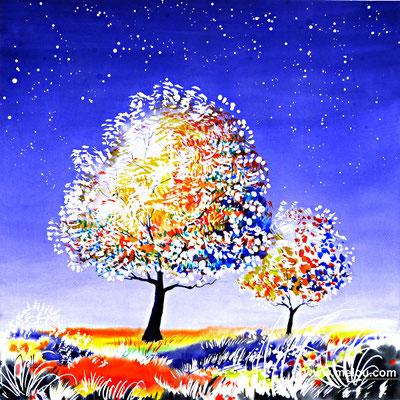 Jardin de paradis VIII - aquarelle marouflée sur châssis toilé - 50cmx50cm - collection particulière