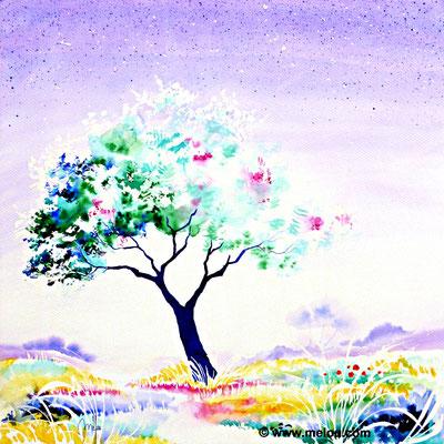 Jardin de paradis VI - aquarelle marouflée sur châssis toilé - 50cmx50cm- Collection particulière