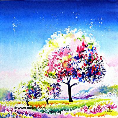 Jardin de paradis I - aquarelle marouflée sur châssis toilé - 50cmx50cm - collection particulière