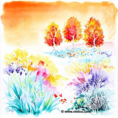 Jardin de paradis X - aquarelle marouflée sur châssis toilé - 50cmx50cm- Disponible