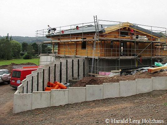 Blockhaus Baustelle  - Rohbau - Blockhausbau - Hessen