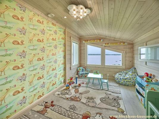 Kinderzimmer im Blockhaus - Innenansichten mit Tapete und Lasur
