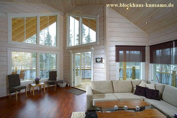 Wohnen mit Stil - Helles Wohnzimmer im Blockhaus - Stadtvilla - Massivholzhaus