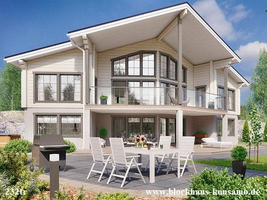 Blockhäuser - Architektenhäuser - Blockhaus am Hang - Massivholzhaus mit Wohnkeller - Hangahausu
