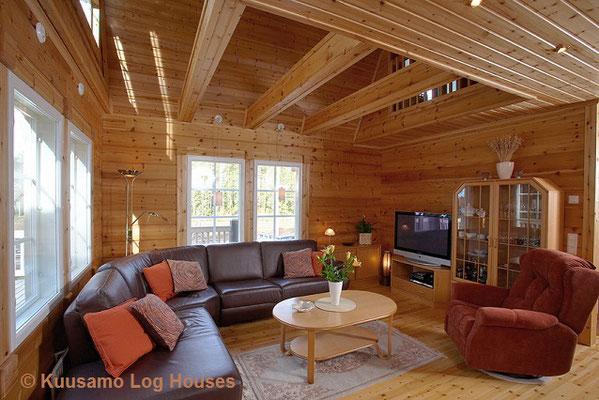 Gemütliche Inneneinrichtung eines Blockhauses - Landhaus - Blockhaus - Wohnblockhaus