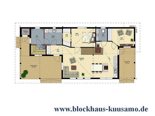 EG-Grundriss - Blockhaus Entwurf - Hausplanung - Neubau - Grundspannung - Grundstück - Einfamilienhaus - Wohnhaus