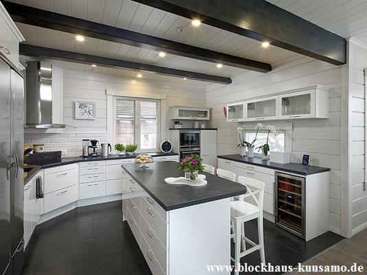 Offene Küche im Blockhaus - Einrichten - Wohnen - Bauherr, Blockhaus bauen, Holzhaus bauen