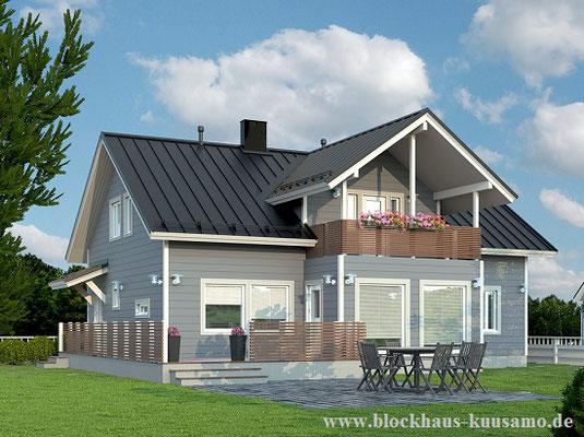 Blockhaus - Entwurf - Einfamilienhaus - Nullenergiehaus - Kollektion - Blockhausbau - © Blockhaus Kuusamo