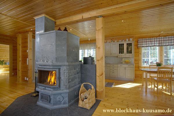 Specksteinofen im Holzhaus