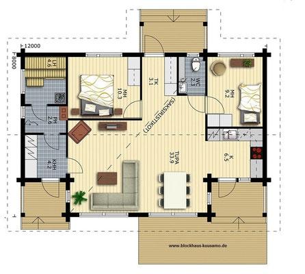 Holzhaus Bungalow -Blockhaus Entwurf - Typenhaus -  Singlehaus - Chalet -  Blockbohlenhaus bauen - Wismar