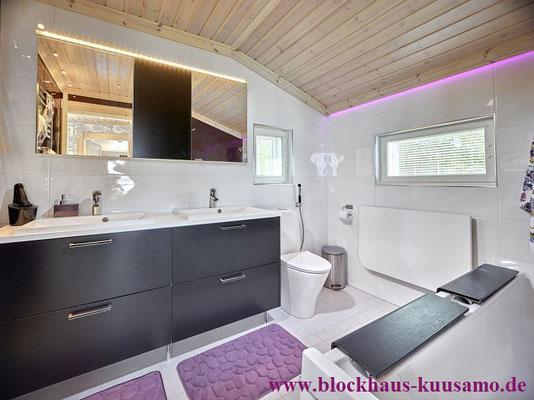 Wellness im Blockhaus - Holzhaus in Blockbauweise