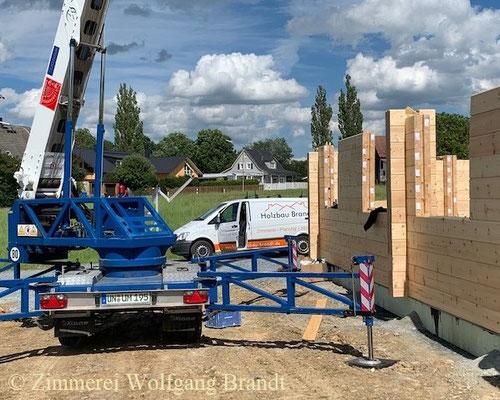 Blockhaus Baustelle nördlich von Nürnberg - Holzhaus - Massivholzhaus - Bauen - Hausbau - Holzbau