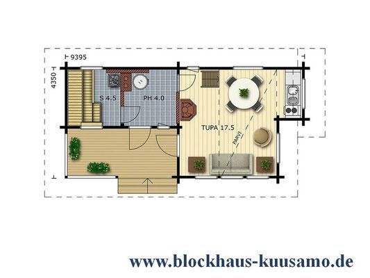 Grundriss - Wellness - Sauna - Hochwertiges Gästehaus - Blockhaus mit Pultdach