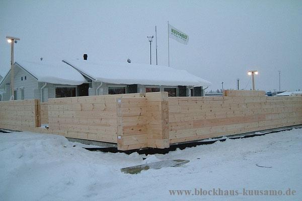 Blockhaus bauen - Winterbau - Bauen im Januar - Blockhausbausatz mit Montage
