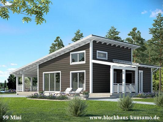 Blockhausbau - Wohnblockhaus mit Pultdach  - Ökohaus