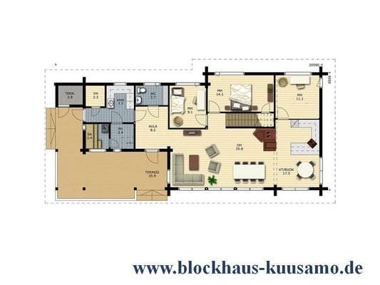 EG-Grundriss - Entwurf - Holzhaus in Blockbauweise - Hausplanung - Entwurfsplanung - Planungsbüro - Architekt - Statiker
