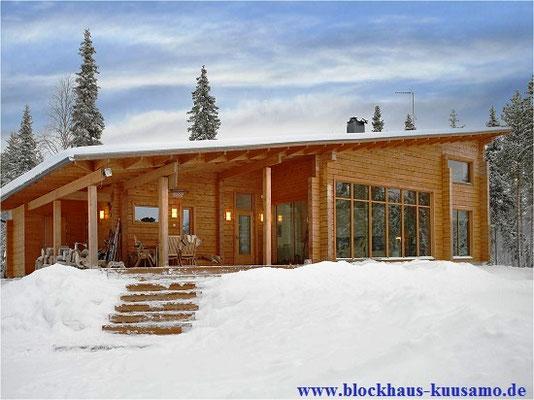 Einzigartiges Massivholzhaus mit Pultdach - Skandinavische Holzhäuser mit Wohnkomfort