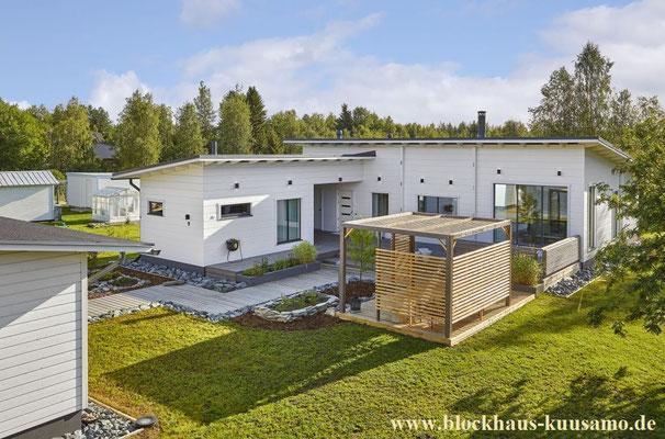 Blockhaus in Weiß - Wohnhaus - Holzhäuser in Blockbauweise - Bungalow - Gesundes Bauen