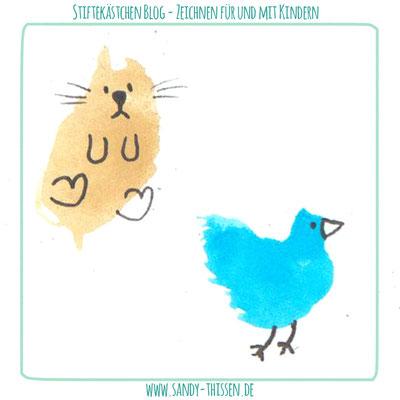 Klecksekritzeln - Katze und Vogel
