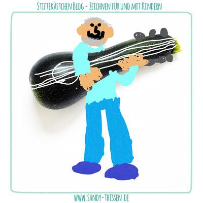 Zeichnen auf Fotos - Gitarrist auf einer Zucchini