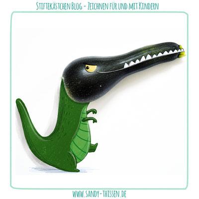 Zeichnen auf Fotos - Zucchinisaurus
