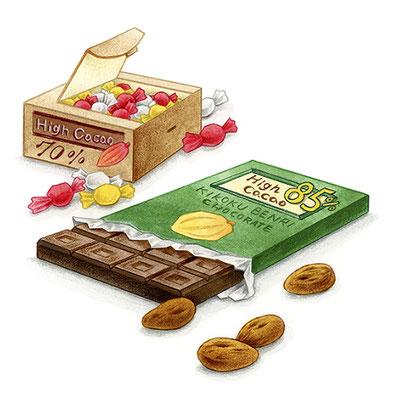 コラム「頭のよくなる食べもの」挿絵 vol.28 ハイカカオチョコレート