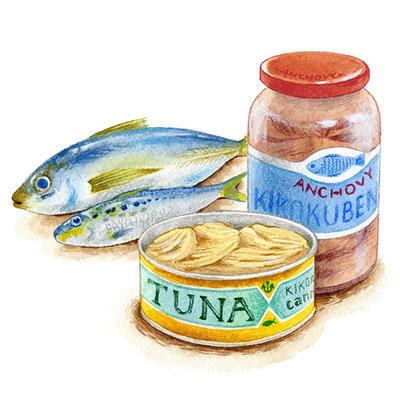 コラム「頭のよくなる食べもの」挿絵 vol.24 青魚