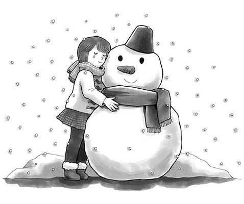 「あったかい雪だるま」挿絵