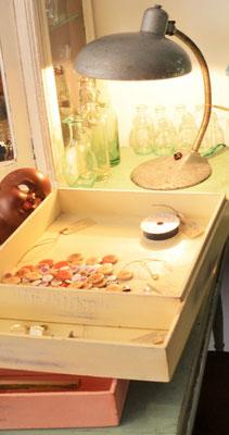 Schreibtischlampe, Küchentisch antik