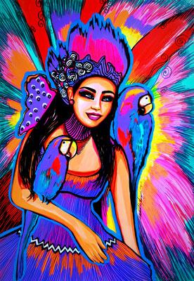 """""""Macaws & Color"""", Mixed media."""