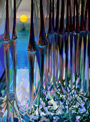 Through the Light of Flourishment, acrylic on canvas 52x46 Inches