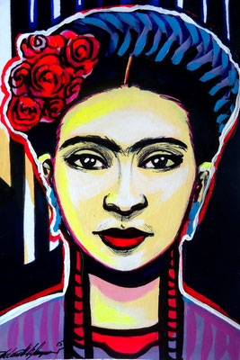 """Frida,In Between the Lines"", Mixed media."