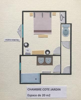 Plan de la chambre côté jardin.