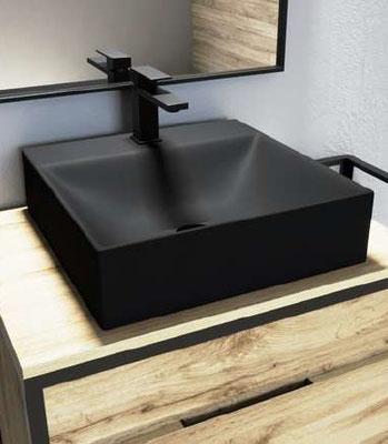 Lavabo Fénix Negro Mate 38x38x13 cm: 122 €