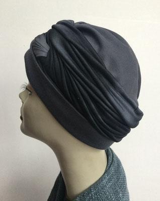 G 85 - Kopfbedeckungen kaufen - Seidenjersey-Foulard und Chäppli - elegant und klassisch - anthrazit