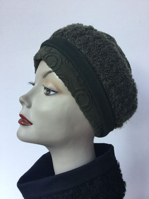Wi 119h - Stirnband mit doppelter Baumwolle (Krempe) - dunkles Olivgrün