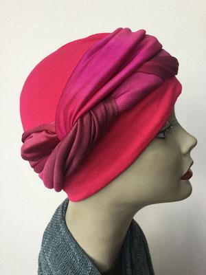 G 84 - Kopfbedeckungen kaufen - Seidenjersey-Foulard und Chäppli - elegant und klassisch - pink rot