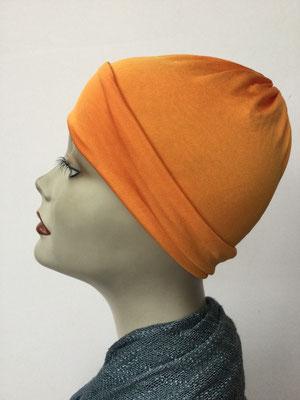 G75 - Kopfbedeckung kaufen - Seidenjersey-Chäppli fest - für Sie und Ihn - orange