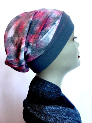 So 63 - Beanie  Schlumpfmütze einfach - batik rosé grau weiss