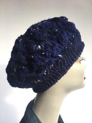 Wi 56 - Kopfbedeckungen nach Chemo - Winterrmodelle -  Artischocke gehäkelt - dunkelblau