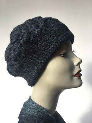 Wi 69g - Kopfbedeckung kaufen  - Artischocke gehäkelt weniger Volumen - blauschwarz